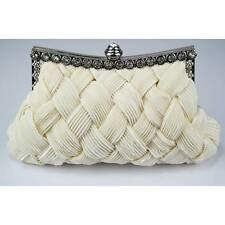 CLUTCH hand BAG WEDDING evening ivory satin diamante 079 vintage style purse