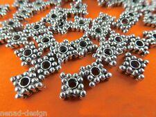 50 Metallperlen SPACER Quadrate 6mm platinfarbig Perlen nenad-design AN096