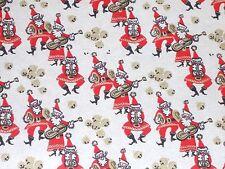 Vtg Christmas Wrapping Paper Gift Wrap 2 Yards Musical Santa Sleigh Bells 1950