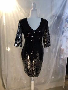 Cocktail Dress, Black & Silver, Slight Worn, Size L, Quite Stunning & Beautiful!