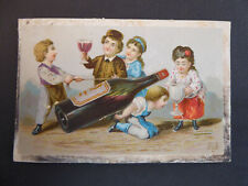 More details for antique giant pouring wine bottle mechanical card victorian f&s