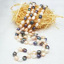 Multi Color Real Freshwater Pearl 7-8mm 47'' Long Elegance Necklace Nice Gift