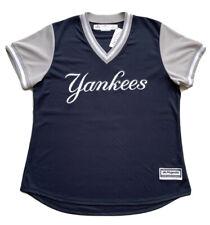 Made in USA MLB NY Yankees Short Sleeve V-Neck Navy Blue Jersey Women Size Large