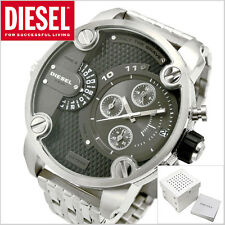 BRAND NEW DIESEL DZ7259 LITTLE DADDY SILVER CHRONOGRAPH GRAY DIAL MEN'S WATCH