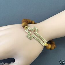 Gold Hammered Cross Wood Ball Beaded Religiously Inspired Stretchable Bracelet