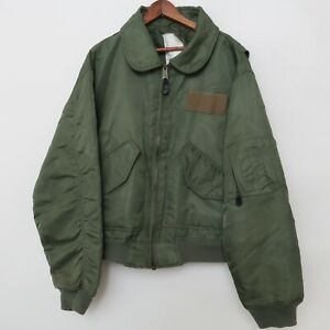 Vintage Flyers Green Jacket Cold Weather CWU-45/P LARGE 80s Flight US Military
