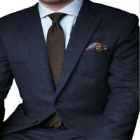 Formal Herringbone Business Men Blazer Wedding Tailored Groom Tuxedo Slim Fit