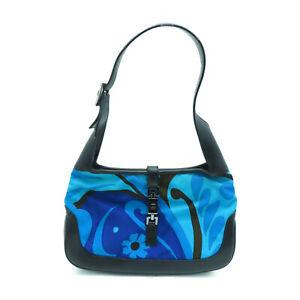 Gucci GG Jackie Hobo Shoulder Handbag Blue Canvas 001.9735