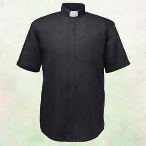 Men's Tab Collar Clergy Preacher Clerical Priest Shirt Short Sleeves *BLACK*