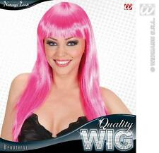 Long Pink Wig With Fringe Celebrity Lady Gaga Disco Diva Fancy Dress
