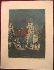 Radierung,Fritz Hartmann,Stadt,Dorf,Nacht