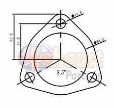 """63.5mm 2.5"""" in acciaio inox 304 FLANGIA DI SCARICO 3 Bullone Triangolare Riparazione Sezione"""