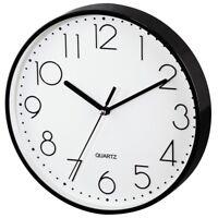22cm Clear View White Black Quartz Wall Clock Home Office Kitchen Silent Run