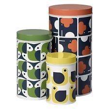 "Orla Kiely - Set of 3 Storage Tins - Assorted ""Animals"" (Elephant, Owl, Hen)"