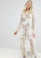 Asos Premium Cream floral Embroidered Maxi Mesh dress 12 Bnwt