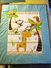 "Handmade Jungle Safari  Flannel Baby Quilt  Multi Color  41""x 33""  NEW"
