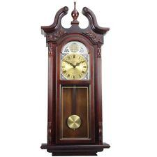 Bedford 38 Grand Antique Chiming Wall Clock W Roman Numerals Cherry Oak Finish