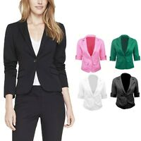 3/4 Sleeve suit jacket stylish womens top cardigan boyfriend Blazer Size 6-14