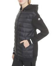 Moncler Women Maglia Down Quilt Hood Sweatshirt Jacket Black Sz Large NWT! $1140