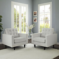 Mid-Century Modern Tufted Leather Upholstered 2PC Accent Armchair Set in White