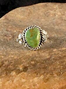 Native American Navajo Sterling Silver Green Gaspeite Ring Sz 8.75 8704