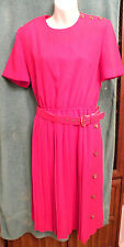 NWT-Vintage Leslie Fay Womens Petite Size 8 RED Dress-Short Sleeve-Belted-EB34
