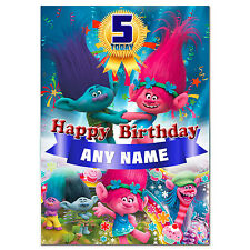 g396; Large A5 Personalised Birthday card for any name age; PINK or BLUE; TROLLS