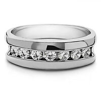 0.50 Ct Natural Diamond Men's Wedding Ring 14K Solid White Gold Band Size 10