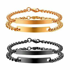 2PCS Polished Stainless Steel Custom Couple Bracelet Mens Womens Valentine Gift