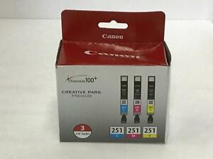 Canon CLI-251 Cyan/Magenta/Yellow Ink Cartridge 3 Pack GENUINE OEM 6514B009
