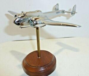 "Desk display Aircraft  Ashtray metal Chrome  Model HP Hamden 7.25"" span damaged"