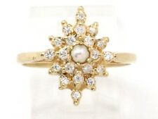 Diamond Cluster Right Hand Ring .40ct 14k Yellow Gold Pearl and Round