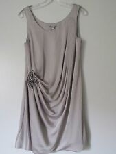 H&M Silver Silver Gray Ruched Draped Beaded Side Sleeveless Dress NWD SZ: 6