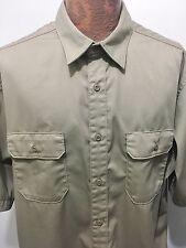 Carhartt Mens 2XL Beige Khaki Short-Sleeve Cotton Blend Button-Front Shirt