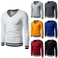 Mens Long Sleeved V Neck T-shirt Sweater Jumper White Tee Shirt Blouse Pullover