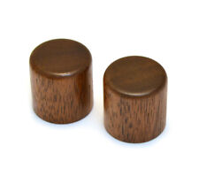 WBRK-W (2) Press Fit Walnut Wood Barrel Knobs for Guitar/Bass Split Shaft Knobs