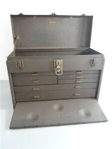 "KENNEDY MACHINIST TOOL BOX 7 DRAWER + FRONT COVER 20"" X 14"" X 9"" MODEL 520"
