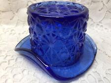 Blue Vaseline glass toothpick holder top hat daisy and button uranium cobalt art