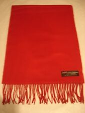 2 PLY Ladies 100% Cashmere Scarf Solid Red Made in SCOTLAND Thick Wool Warm Wrap