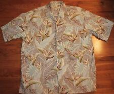 TORI RICHARD MENS/MANS XL HAWAIIAN STYLE SHIRT BEIGE/BROWN FLORAL PATTERN S/S