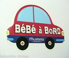 FRENCH 1970s BABY ON BOARD STICKER -FRENCH TEXT -BEETLE CAR- MADE IN FRANCE -NEW