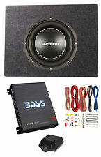 "Q Power 12"" Shallow 1200W Subwoofer + Shallow Enclosure + Amplifier & Wire Kit"
