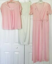Vintage JC Penney Collectibles Pink & Ivory Robe & Pajamas, Size Petite Large