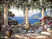 Beautiful Seaside Garden Hand Painted Design Needlepoint Canvas 042