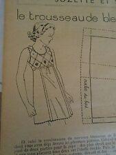 """PATRON ORIGINAL POUR LA POUPEE """" BLEUETTE LINGERIE COMBINAISON DECEMBRE 1937"""