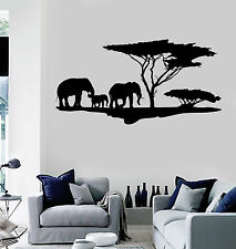 Vinyl Wall Decal African Nature Elephants Family Africa Tree Stickers (ig4044)