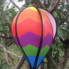 Rainbow Striped Wind Spinner Windsock Hot Air Balloon Yard Outdoor Home Decor