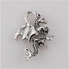 10 Dragon Tibetan Silver Charms Pendant Jewelry Making Findings 21mm EIF0165