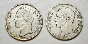 1900 Silver Coin (2 COINS) Venezuela Libertador 5 Bolivares Fuerte (P1)