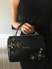NWT Michael Kors Ava Flowers Small Satchel Black Leather Bag $328